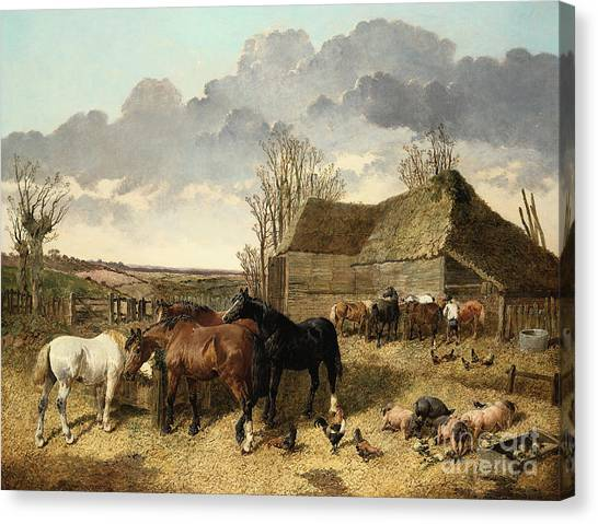 Horse Farms Canvas Print - Horses Eating From A Manger, With Pigs And Chickens In A Farmyard by John Frederick Herring Jr