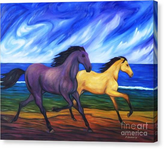 Horses Running On The Beach Canvas Print