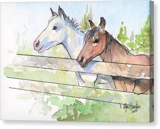 Horse Farms Canvas Print - Horses Watercolor Sketch by Olga Shvartsur