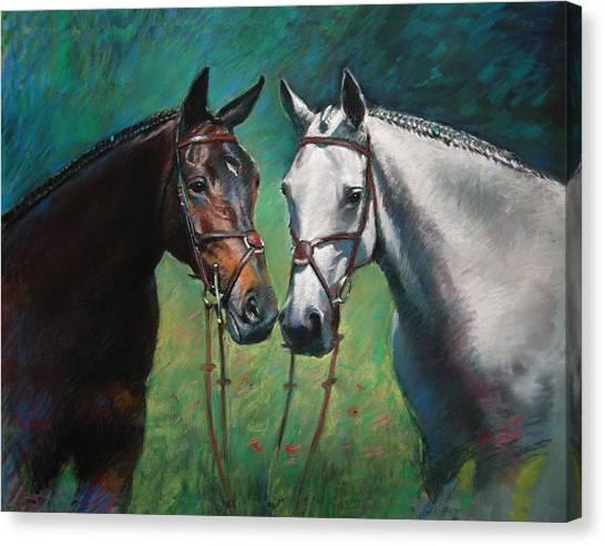 Brown Canvas Print - Horses by Ylli Haruni