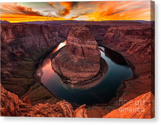 Canvas Print featuring the photograph Horseshoe Bend, Colorado River, Page, Arizona  by Bryan Mullennix