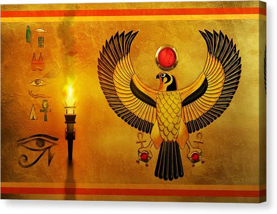 Egyptian Art Canvas Print - Horus Falcon God by John Wills