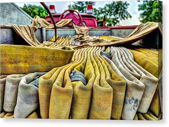 Volunteer Firefighter Canvas Print - Hoses by JC Findley