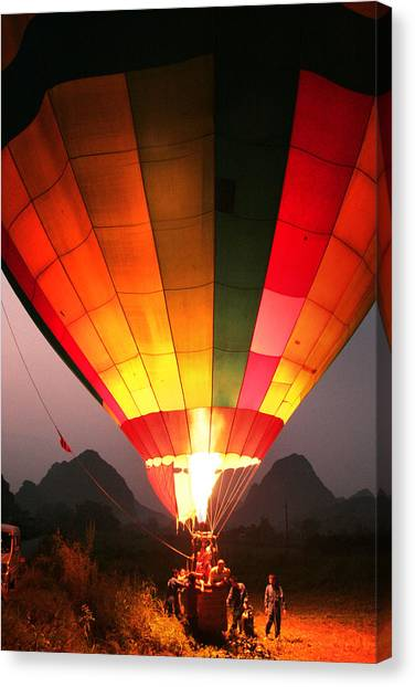 Hot Air Ballon At Dawn Canvas Print