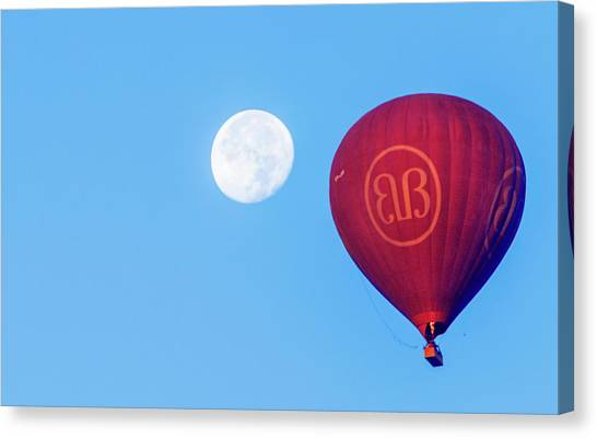 Canvas Print featuring the photograph Hot Air Balloon And Moon by Pradeep Raja Prints