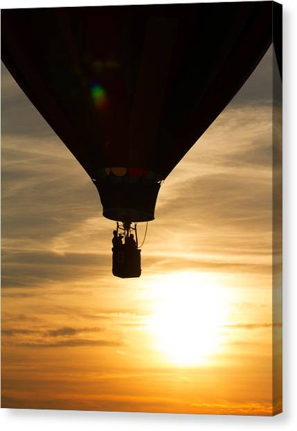 Hot Air Balloon Sunset Silhouette Canvas Print