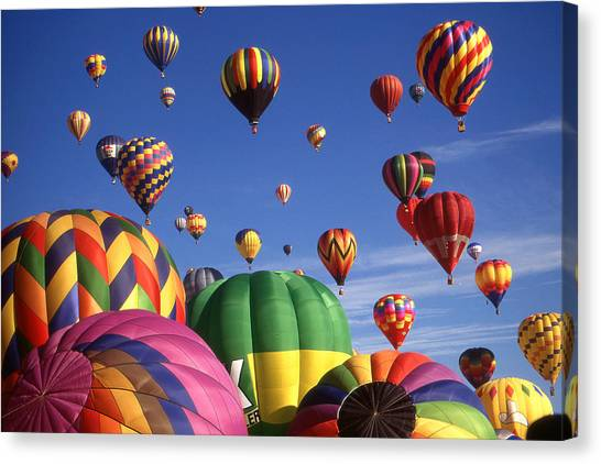 Beautiful Balloons On Blue Sky Canvas Print