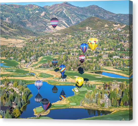 Hot Air Balloons Over Park City Canvas Print