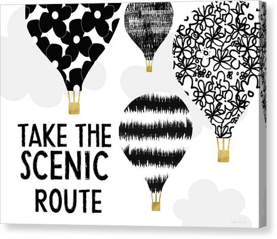 Hot Air Balloons Canvas Print - Hot Air Balloons Scenic Route- Art By Linda Woods by Linda Woods