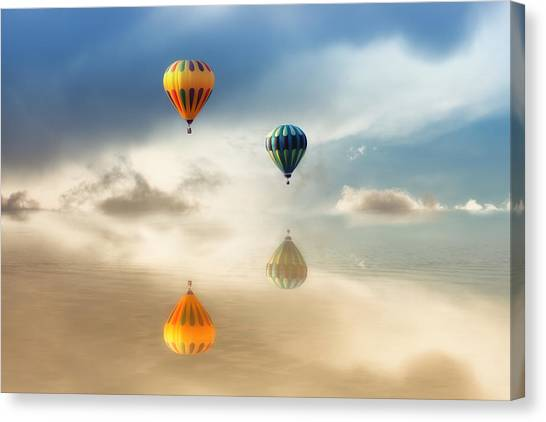 Hot Air Balloons Water Reflections Canvas Print