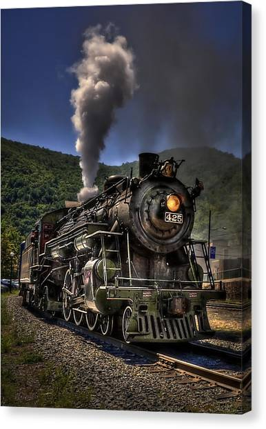 Old Train Canvas Print - Hot And Steamy by Evelina Kremsdorf