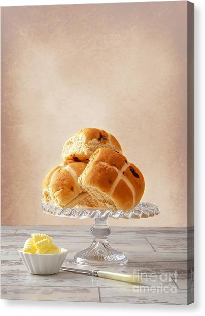 Buns Canvas Print - Hot Cross Buns With Butter by Amanda Elwell