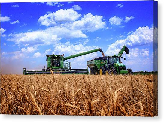 John Deere Canvas Print - Hot Harvest by Thomas Zimmerman