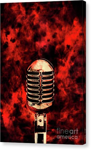 Microphones Canvas Print - Hot Live Show by Jorgo Photography - Wall Art Gallery