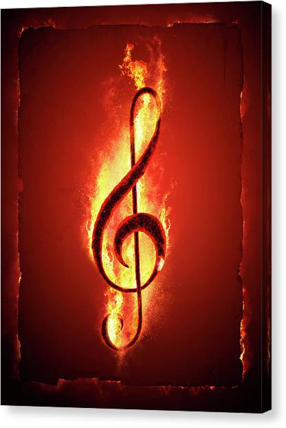 Flames Canvas Print - Hot Music by Johan Swanepoel