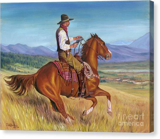 Mountain West Canvas Print - Hot Pursuit by Don Dane