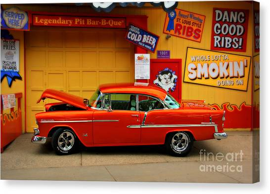 Street Rods Canvas Print - Hot Rod Bbq by Perry Webster