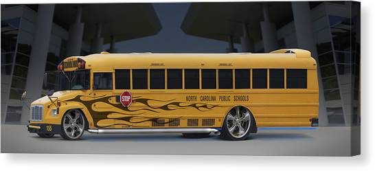 Street Rods Canvas Print - Hot Rod School Bus by Mike McGlothlen