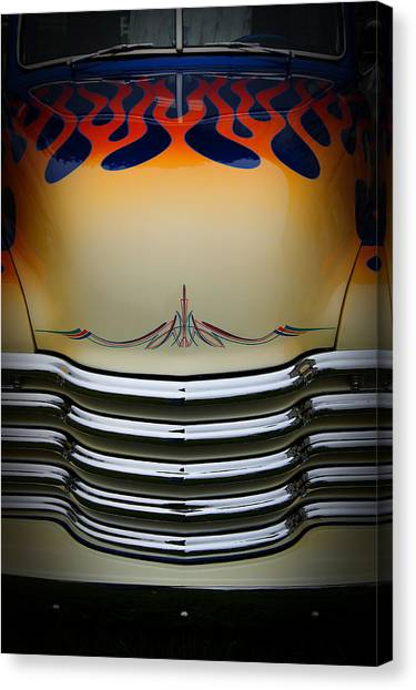 Hot Rod Truck Hood Canvas Print