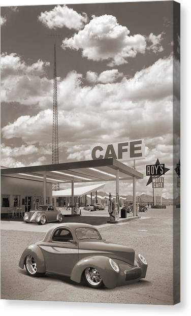 Street Rods Canvas Print - Hot Rods At Roy's Gas Station Sepia by Mike McGlothlen