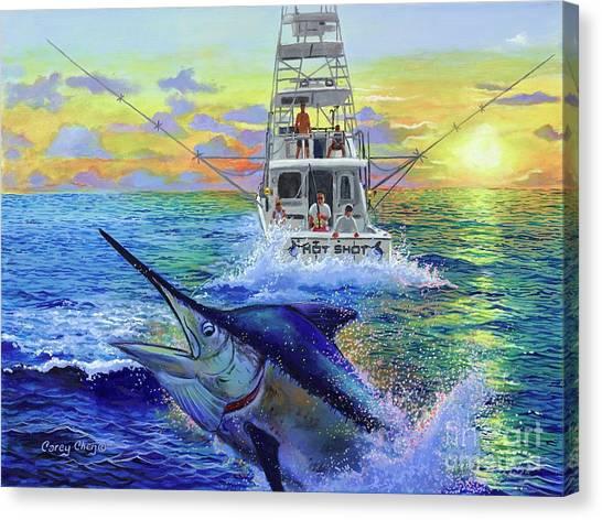 Sportfishing Canvas Print - Hot Shot Marlin  by Carey Chen