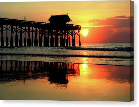 Hot Sunrise Over Cocoa Beach Pier  Canvas Print