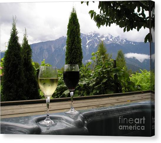Hot Tub And Wine Canvas Print