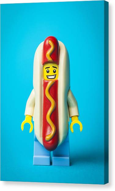 Costume Canvas Print - Hotdog Dude by Samuel Whitton