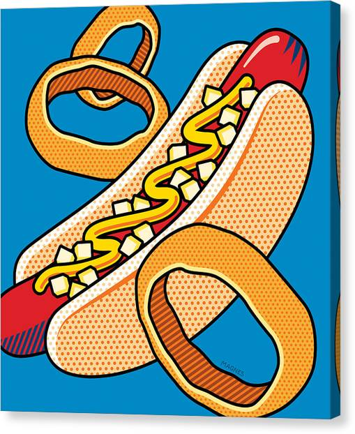 Junk Canvas Print - Hotdog On Blue by Ron Magnes