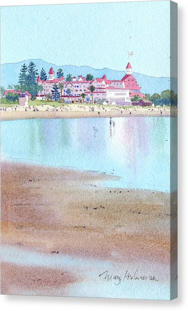 Low Tide Canvas Print - Hotel Del Coronado Low Tide by Mary Helmreich