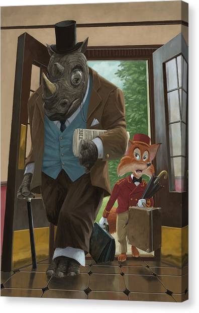 Hotel Rhino And Porter Fox Canvas Print