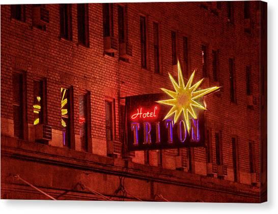 Hotel Triton Neon Sign Canvas Print