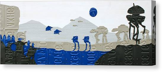 Droid Canvas Print - Hoth Star Wars Scene Panorama Made Using Vintage Recycled License Plates On White Wood Plank by Design Turnpike