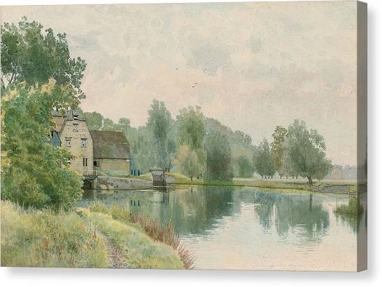 St Ives Canvas Print - Houghton Mill On The River Ouse by William Fraser Garden