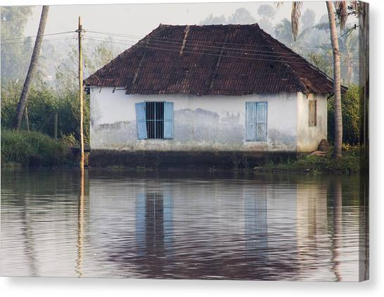 House Along The Kerala Backwaters Canvas Print by Andrew Soundarajan