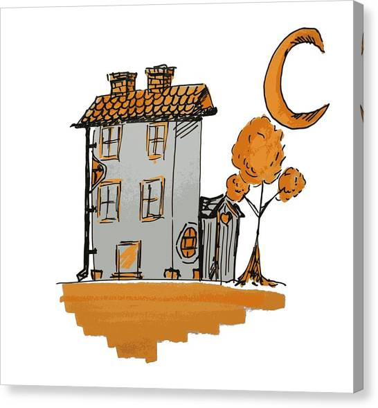House And Moon Canvas Print