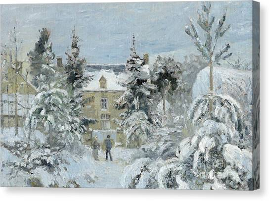 Camille Canvas Print - House At Montfoucault by Camille Pissarro