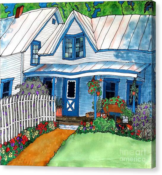House Fence And Flowers Canvas Print by Linda Marcille