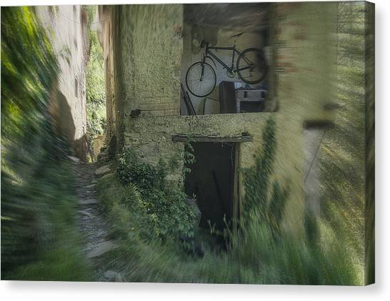 House With Bycicle Canvas Print