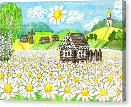 House With Camomiles, Painting Canvas Print