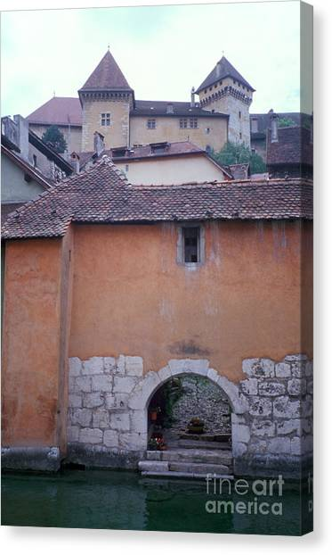 House With Landing Place And Castle At Annecy Canvas Print