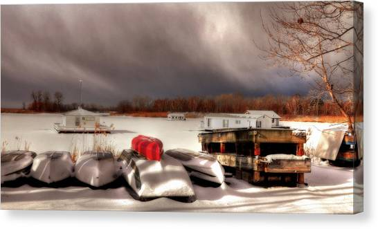 Houseboats In Winter Canvas Print by Brian Fisher