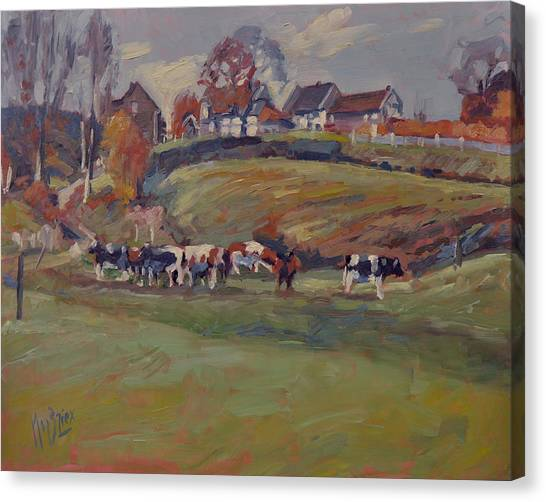 Briex Canvas Print - Houses And Cows In Schweiberg by Nop Briex