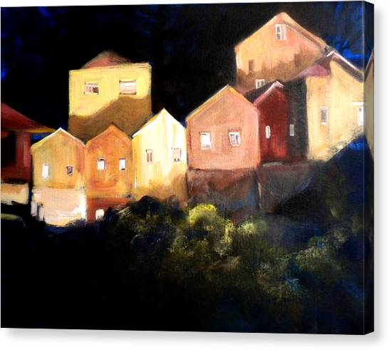 Houses At Sunset Canvas Print by Paula Strother