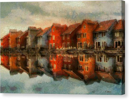 Houses By The Sea Canvas Print