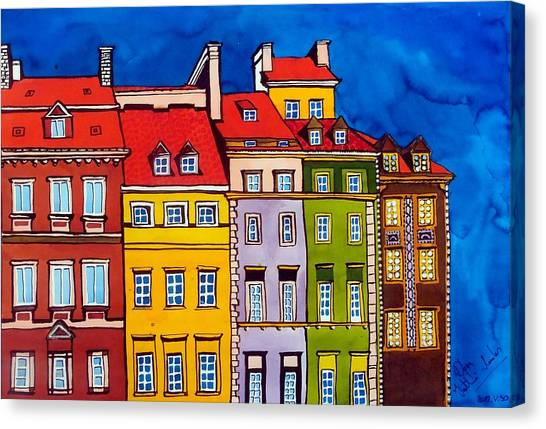 Houses In The Oldtown Of Warsaw Canvas Print