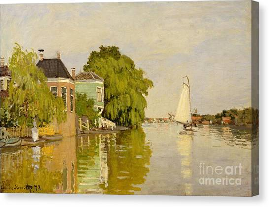 Murky Canvas Print - Houses On The Achterzaan, 1871  by Claude Monet