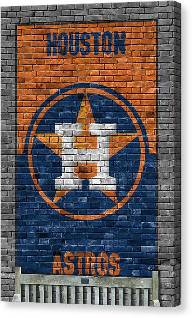 Houston Astros Canvas Print - Houston Astros Brick Wall by Joe Hamilton