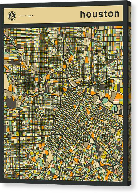Houston Canvas Print - Houston City Map by Jazzberry Blue
