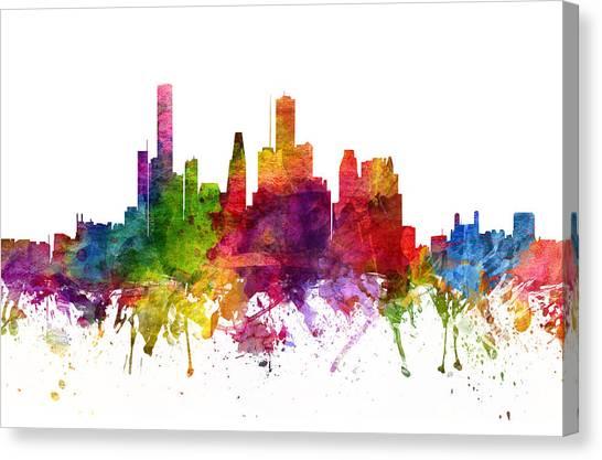 Houston Skyline Canvas Print - Houston Cityscape 06 by Aged Pixel
